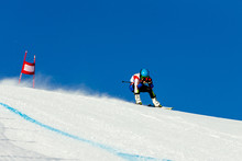 Man Racer In Downhill Skiing C...