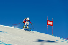 Women Athlete Racer In Downhill Skiing Championship Alpine Skiing