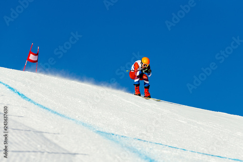 athlete racer in downhill skiing championship alpine skiing