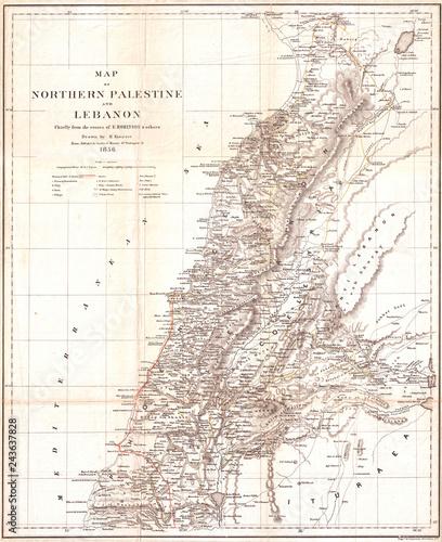 Wallpaper Mural Map of Lebanon 1856, Kiepert