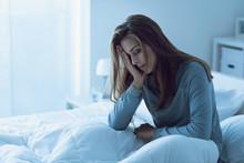 Depressed Woman Awake In The N...