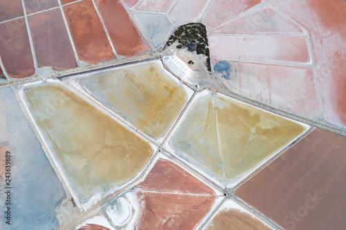 Aerial view of Ses Salines Es Trenc Estrenc saltworks at Colonia de Sant Jordi, Mallorca island, Spain