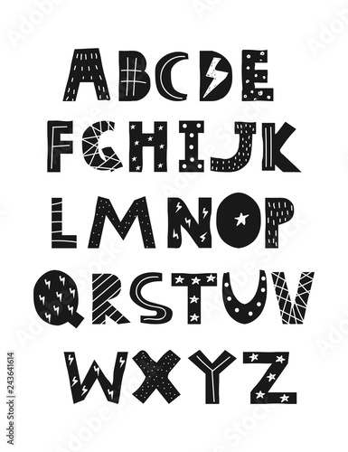 Obraz Cool kids font in trendy style. Black and white alphabet. Cute nursery poster. Vector hand drawn illustration. - fototapety do salonu