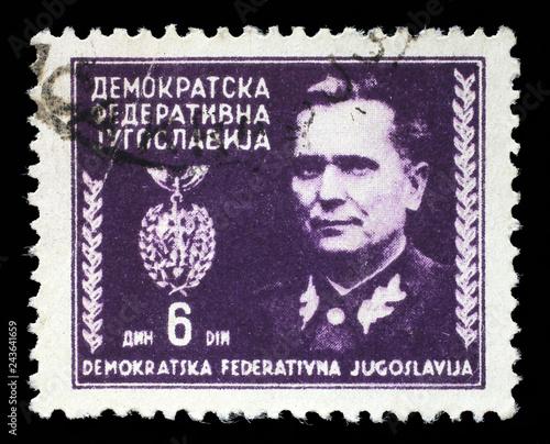 Papel de parede  Stamp printed in Federal Democratic Republic of Yugoslavia shows Marshal Josip B