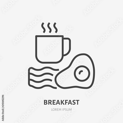 Foto Coffee, eggs, bacon flat line icon