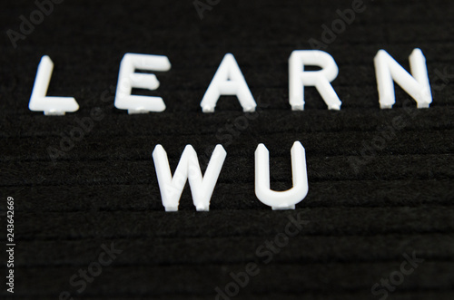 Learn WU CHinese, simple sign on black background, great for teachers, schools, Canvas Print