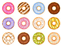 Doughnut Vector Set, Colorful ...