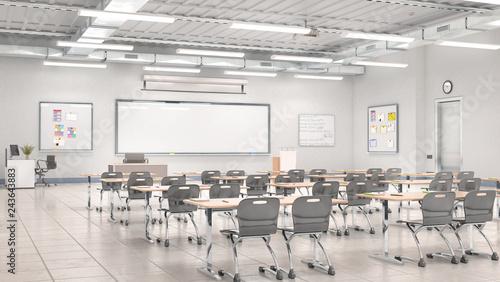 Cuadros en Lienzo  Classroom interior. 3D illustration.