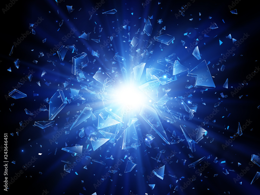 Fototapety, obrazy: Shards of broken glass. Abstract explosion. Vector background