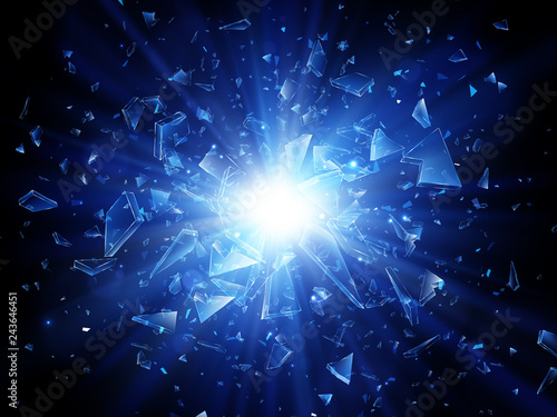 Obraz Shards of broken glass. Abstract explosion. Vector background - fototapety do salonu