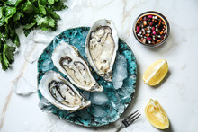Plate With Tasty Cold Oysters ...