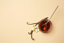 Bowl Of Vanilla Extract On Color Background