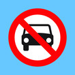 No car or no parking traffic sign, prohibit sign, vector illustration