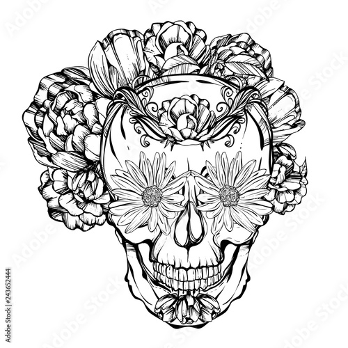 - Halloween. Día De Los Muertos. Skull Adorned With Flowers. Handmade. Tattoo  Design. Vector Illustration.Coloring Book Page Design - Buy This Stock  Vector And Explore Similar Vectors At Adobe Stock Adobe Stock