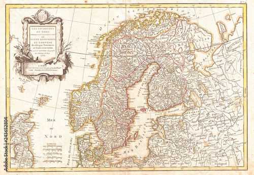 Canvas Print 1762, Janvier Map of Scandinavia, Norway, Sweden, Denmark, Finland