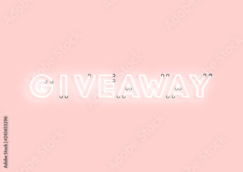 Valokuvatapetti Giveaway pink neon electric letters illustration