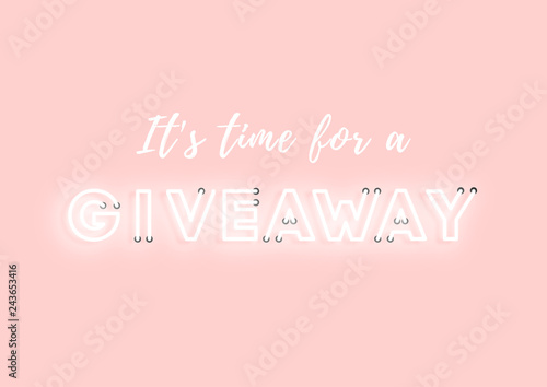 Giveaway pink neon electric letters illustration Canvas-taulu