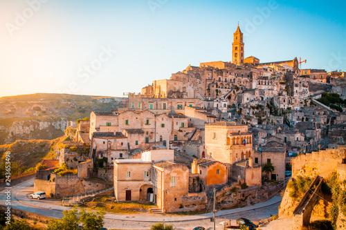 Poster Centraal Europa Sassi di Matera at sunrise, Basilicata, Italy