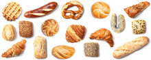 Bread Roll Bakery Variety High Angle Panorama Banner Cutout On White