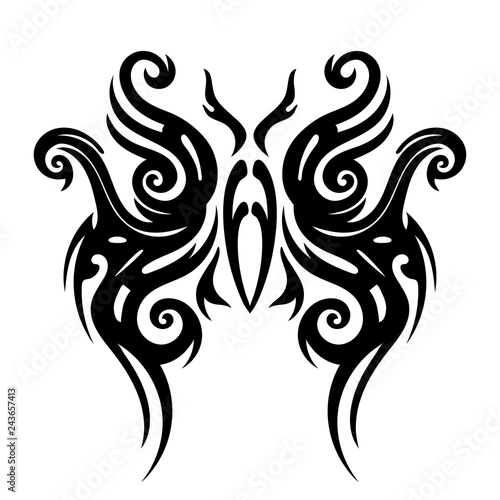 a9692a13ce2f5 Tattoo tribal design, stylized butterflies, abstract print, celtic pattern,  ornament sketch, vector illustration, black and white drawing, element for  ...