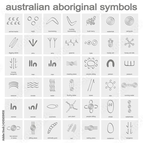 Wallpaper Mural monochrome icon set with australian aboriginal symbols