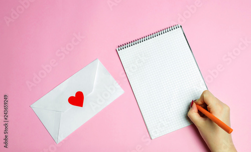 Cuadros en Lienzo Female hand writing a love letter