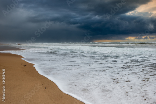 View of Mediterranean sea and dramatic sky.