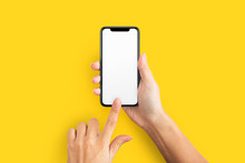 Mockup Of Female Hand Holding Cell Phone With Blank Screen