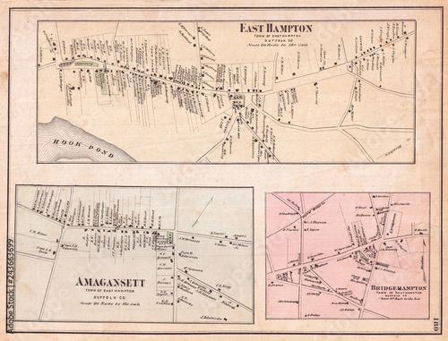 1873, Beers Map of East Hampton, Bridgehampton, and Amagansett, Long Island, New York Wall mural