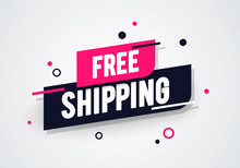 Vector Illustration Modern Free Shipping Shop Now Advertisement Label