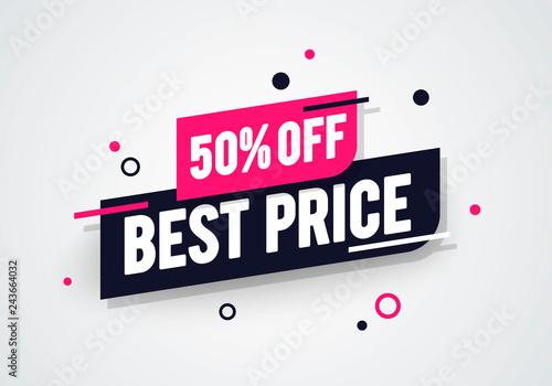 Fotografia Vector Illustration Modern Best Half Price 50% Off Shop Now Advertisement Label
