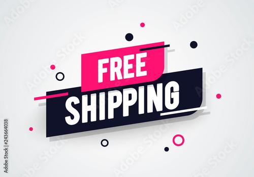 Vector Illustration Modern Free Shipping Shop Now Advertisement Label Fototapete