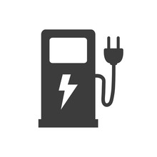 Electric Fuel Pump Icon On Whi...