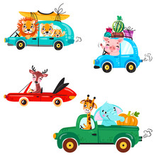 Set Of Kids Transport With Lion, Boat, Canoe, Giraffe, Elephant, Deer, Watermelon And Gifts. Cute Animals Ride On The Car.  Vector Illustration Isolated On White Background