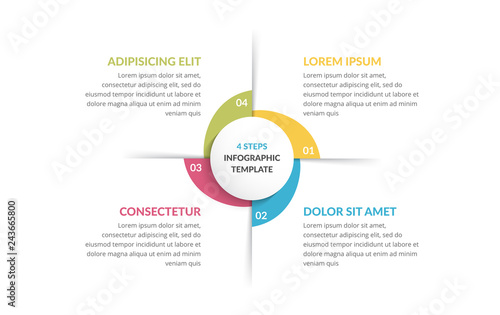 Vászonkép Circle Infographics - Four Elements