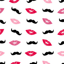 Seamless Pattern With Colorful Lips And Mustache.
