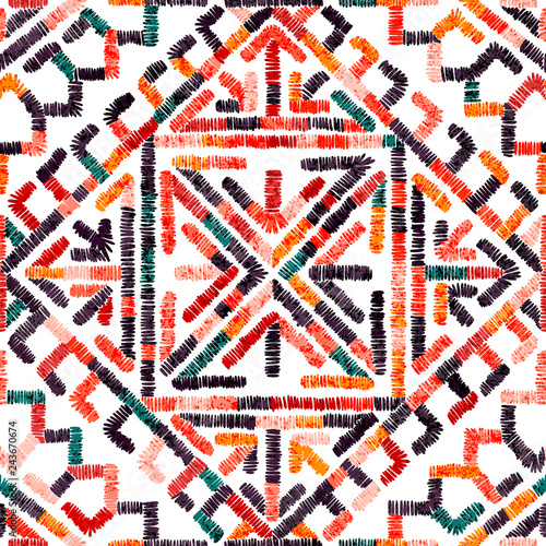Foto auf Gartenposter Boho-Stil Embroidered seamless geometric pattern. Ornament for the carpet. Ethnic and tribal motifs. Colorful print of handmade. Vector illustration.