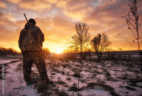Foto op Plexiglas Jacht Winter hunting for hares at sunrise. Hunter moving With Shotgun and Looking For Prey.