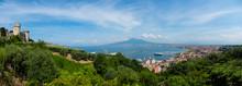 Italy, Campania, Naples, View From Castellammare De Stabia, Castello Medioevale, Gulf Of Naples, Vesuvius In The Background