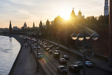 Russia, Moscow, The Kremlin Embankment With Heavy Traffic