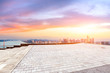 Empty floor and city skyline at sunrise in hangzhou,high angle view