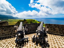 Caribbean, Lesser Antilles, Saint Kitts And Nevis, Basseterre, Brimstone Hill Fortress, Old Cannon