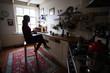 girl drinking tea in the kitchen