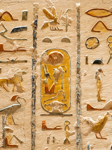 Egyptian Hieroglyphics in valley of Kings close up detail Canvas-taulu