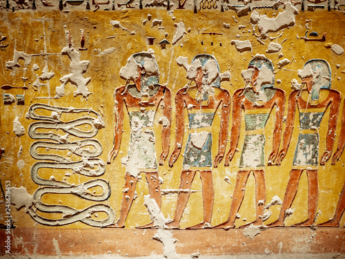 Valokuvatapetti Hieroglyphics depicting the afterlife in the Valley of the Kings Luxor Thebes Eg