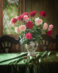 Fototapeta Do sypialni Still life with bouquet of garden roses