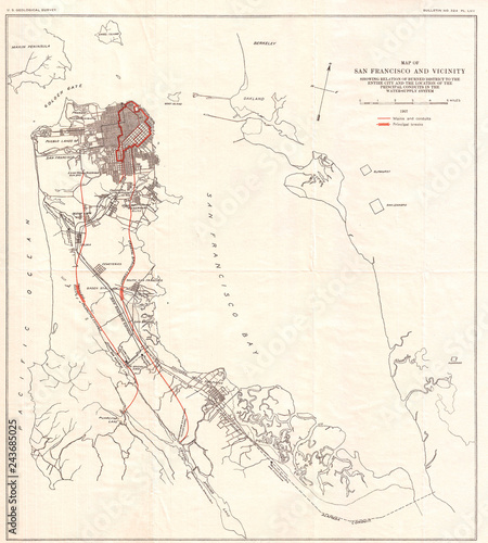 Photo  1907, Geological Survey Map of San Francisco Peninsula after 1906 Earthquake