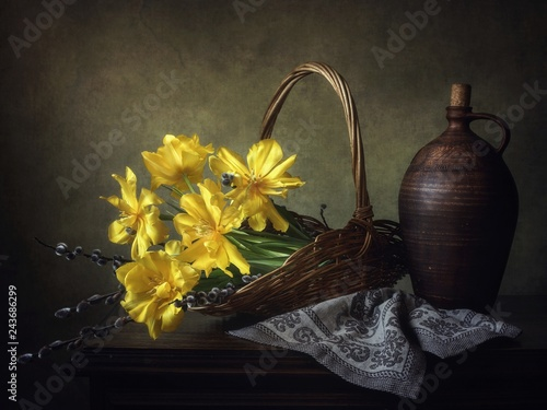 Pinturas sobre lienzo  Still life with bouquet of yellow tulips