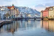 Lucerne City, Switzerland, Snow White In Winter Time