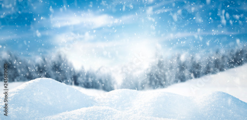 Foto auf Leinwand Blau Winter background of snow and free space for your decoration